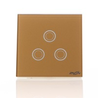 Smart Home Touch wall switch 3gangs 1way switch zero FireWire light switch champagne