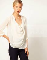 Free shipping 2014  Women Europe Sexy See-through U-neck Long Sleeve Chiffon Shirt Casual Blouse Top