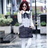 2014 Women's winter brand parkas jackets white fur collar parkas women's long down jacket plus size XXXL PA-810