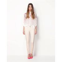 Free shipping 2014  Womens Floral Print See-Through Long Sleeve Casual Chiffon Shirt Blouse