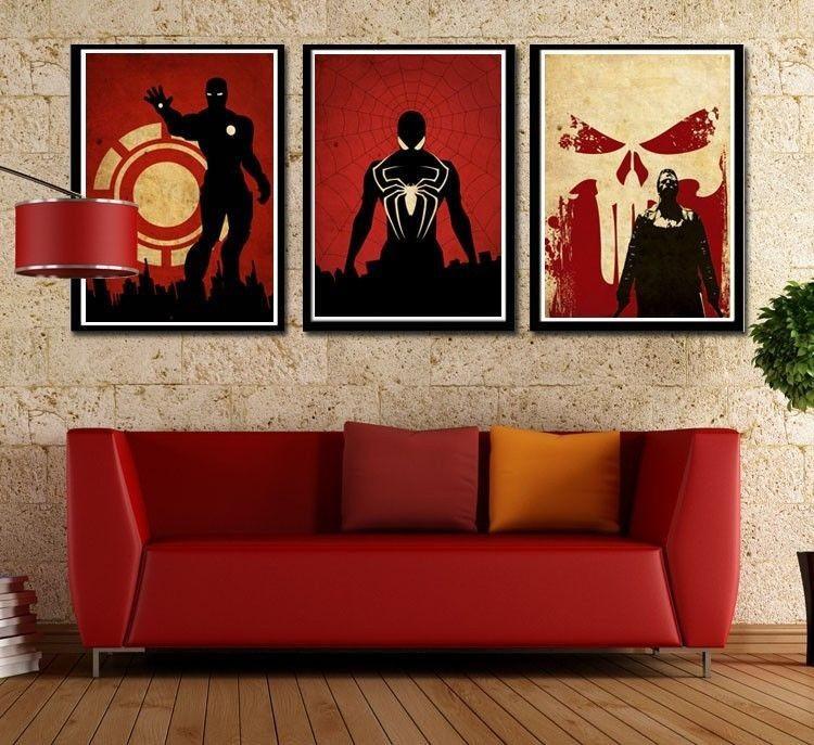 Hot Sale 3 Superhero Modern Top Decor Art Canvas Oil