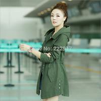 2014 Autumn Hitz Korean Slim Pocket Jacket Single-breasted Long Trench Coat For Women Hooded Zip Dark Green Desigual Overcoat