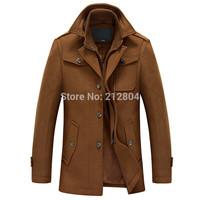 Free Shipping Winter Outerwear Fashion Casual Button Men's Yellow Jacket Long Coats Wool& Blends Clothing (PLUS SIZE M-XXXL)