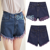 2014 New Summer Women's Purple Gradient Tassel Denim Shorts,Ladies  Sexy High Waist Jeans Shorts Solid Button Pockets Hot Pants