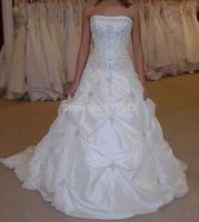 Stock White/Ivory Strapless Neck Sleeveless Bridal Dresses Beaded Ball-Gown Floor Length Taffeta Pleat Wedding Dresses Size 6+8+