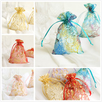 50ps 12color Organza Wedding Favor Candy Gift BAGS Jewellery Pouches Christmas Snowflake/Love heart/Rose Patterns Tie Bags 4*6''