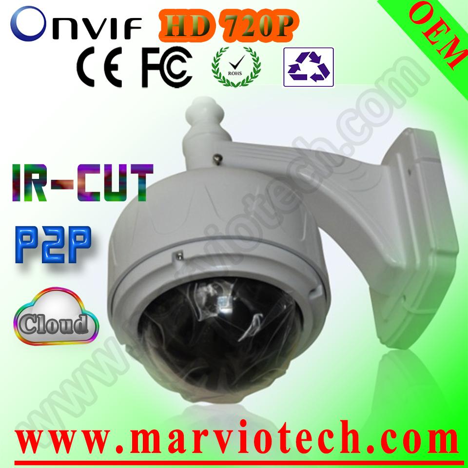 New 1mp P2P PTZ ip camera outdoor waterproof Vandalproof IP66 outdoors lower Speed Dome Network CMOS Sensor Kamera(China (Mainland))