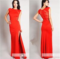 2014 New Fashion Free Shipping Slim thin hollow slit dress sexy nightclub dress lace dress