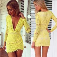 New Sexy Club Dress 2014 vestido de festa Lace Deep V-neck Long Sleeve Women Party Dresses Floral Sheath Pencil Yellow Dress