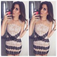 014 new hot sexy female hollow out lace stripe dress mini bodycon dress frozen dress elsa dress