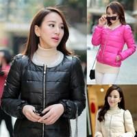 2014 Women's explosion pearl collar sleeve jacket short Brand down parka jacket winter coat parkas womens plus size XL PA-813