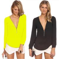 Women Blouses 2014 Autumn Fashion Female Clothes V Neck Long Sleeve Casual Chiffon Zipper Slim Top Blouse Blusas Femininas S-XXL