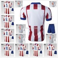 14/15 KOKE GABI home away soccer jersey + Shorts kits, 2015 best quality football uniforms embroidery logo