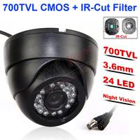 "24pcs IR LED Night vision Real 700TVL 1/3"" Color CMOS High Resolution IR Indoor Dome Camera CCTV Camera"