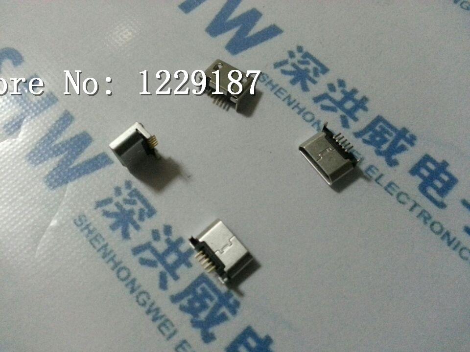 Гаджет  New original 100PCS * 5pin Micro USB 5P charging socket female plug after patch 7.2 without positioning column connector None Электротехническое оборудование и материалы