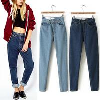 2014 New Listing Winter American Apparel AA Street Fashion Lady Retro High Waist Denim Jeans Harem Pants Trousers Legging 2Color
