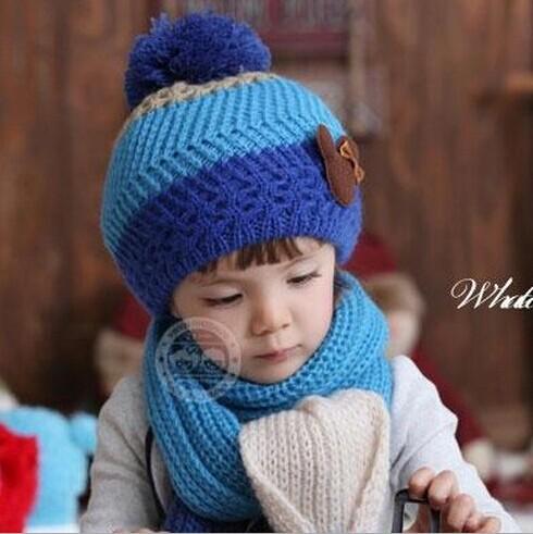 2014 New fashion winter 5-star Children Beany Hat Scarf set/ kids winter 5-star Children lovely Hat Scarf set free shipping MZ02(China (Mainland))