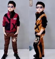 hot sale 2014 new middle school  children long sleeve leisure sports wear boys  suit C13 free shipping