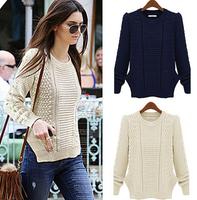 2014 Autumn European New Women Pullovers O-neck Hemp flowers Side Slit Knitted Women Sweaters Long Sleeve Casual Knitwear WS001