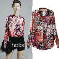 blusas femininas 2014 big retro flower print shirt wholesale lapel long-sleeved chiffon shirt Plus Size female chiffon blouse