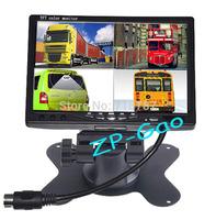 "Car Rear View 7"" LCD Monitor 4CH Video input Quad Split Screen For Truck Caravan Vans 12V-24V Free Shipping"