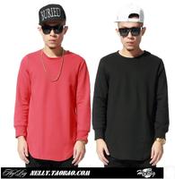 Cool , 2014 Hip hop tyga street Fashion Men's solid sweatshirt cotton Long sleeve casual sport t shirt extended pyrex sweater