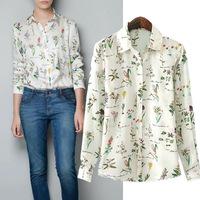 2014 new blusas femininas 2014 women's autumn long-sleeved Plus Size metal buttons printed chiffon blouse shirt
