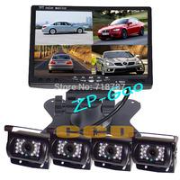 "4x 18LED IR CCD Reversing Camera + 7"" LCD 4CH Video input Quad Split Monitor Car Rear View Kit Free Shipping"
