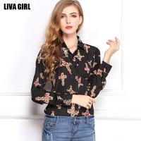 blusas femininas 2014 women's loose Plus Size retro summer bottoming shirt collar long-sleeved chiffon shirt printing Cross