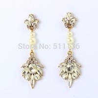2014 Brand Claw Crystal Pearl Drop Earrings Trendy Fashion Jewelry for Women KK-SC684