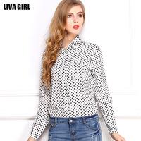 2014 new blusas femininas 2014 women's Polka Dot shirt chiffon shirt Plus Size long sleeve shirt loose shirt winter