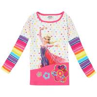 Free Shipping 2014 New Design Children T Shirts Frozen Princess T-shirts Long Sleeve TShirts Hot Sell Frozen Shirt