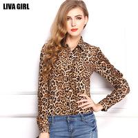 Korean Women Leopard Ladies chiffon shirt  th loose Plus Size shirt collar long-sleeved shirt