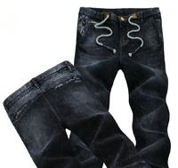 New Korean Slim Men's elasticity pants feet / dark blue men's elastic waist jeans
