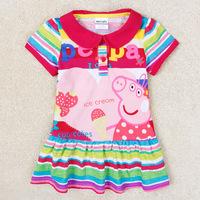 New Design 2014 Children Dresses Peppa Pig Clothing 100% Cotton Girl's Summer Dress Peppa Pig Dress Shirt Dress Peppa Pig