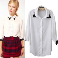 livagirl spot wholesale trade  blusas femininas women's double collar shirt blouses wholesale Long Sleeve