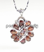 Pendant Free shipping Necklace pendant Natural garnet sapphire 925 sterling silver plate 18k white gold Red gems #14100902