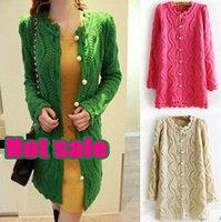 Free Shipping 2014 Slim V Neck Hollow Long Cardigan Women Sweater Coat Pearl Clasp Knitwear Sweaters For Women WS003