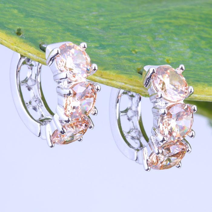 Morganite Earrings White Gold Earrings 18k White Gold