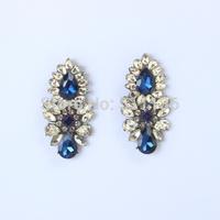 (min order $10) 2014 New Design fashion Gunmetal Shourouk Drop earrings Navy Blue Crystal Dangle Earrings KK-SC683