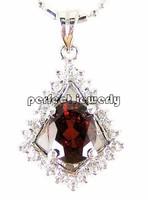 Garnet pendant Free shipping Necklace pendant Natural garnet 925 sterling silver plate 18k white gold Flower style #14100904