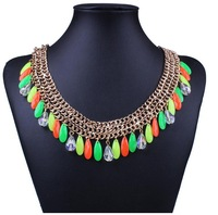 The new  Europe and America hot sale women elegant statement resin pendant necklace earrings set