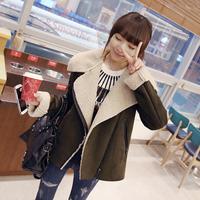 Free shipping 2014 new winter coat Korean Women thick lamb warm coat Long sleeve fashion lapel wool jacket 2 color+dropshipping