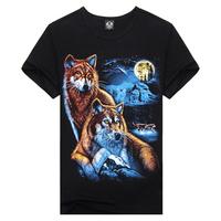 New Fashion 2014 Summer Cool Multicolor Wolf Digital Print Boy Slim Cotton Shirts&Tops Black Plus Size M-XXXL Men's Casual Tees
