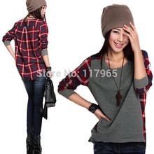 Min . ordem é de r $10 mulheres roupas de manga comprida T camisa camisa xadrez mulheres tamanho da fêmea solto blusa CH122(China (Mainland))