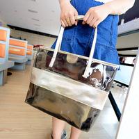 2014 belt transparent jelly bag picture package plastic women's handbag beach bag handbag shoulder bag free shipping