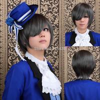 New Ciel Phantomhive kuroshitsuji Short Straight Cosplay Party Hair Full wig Halloween party +hairnet gift Free ship