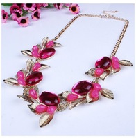 2014 Europe and America fashionable exaggerate luxury rhinestone flower short pendant&necklace wholesale