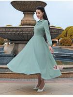 Cheap peter pan collar long sleeve vintage casual winter dress women 2014 autumn maxi prom party dress work wear green S M L XL