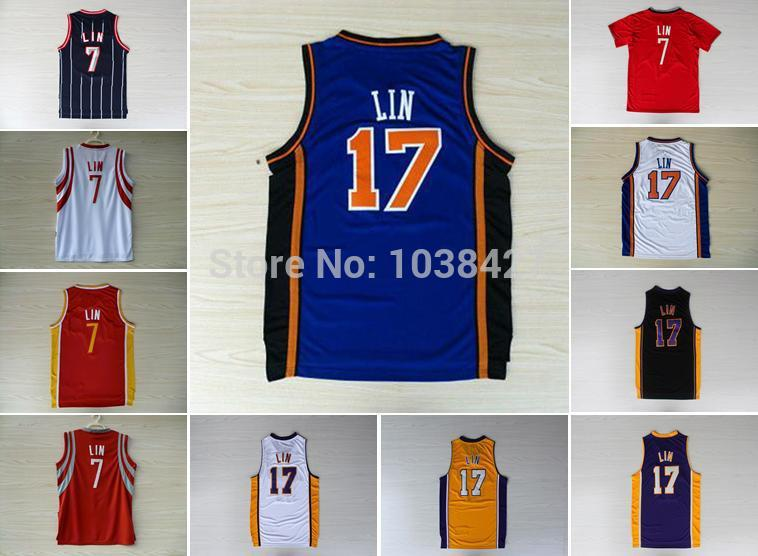 New York # 17 Jeremy Lin Houston #7 Lin Embroidery New Material Basketball Jerseys Retro Style Jerseys Christmas Training Tops(China (Mainland))